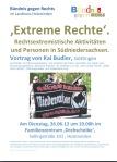 Vortrag Kai Budler, Göttingen, in der drehscheibe Holzminden: 'Extreme Rechte'. Rechtsextremistische Aktivitäten und Personen in Südniedersachsen